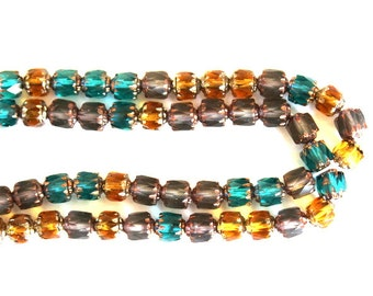 25 Topaz, Emerald and Gray Cathedral Beads