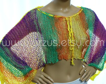 Cropped Boho Sweater Loose Knit Short Sweater Batwing Knit Vest Rainbow Shrug Hippie Clothing Grunge Sweater Spring Summer Wear
