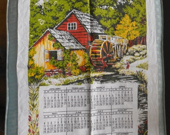 Linen Tea Towels, Dish Towels. Kitchen CalendarTowels LOT of 4 1975, 1976, 1985, 1991 Vintage