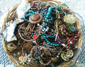 2Lbs craft broken jewelry beads and more art project supplies