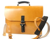 London Tan and Black Bridle Leather Briefcase