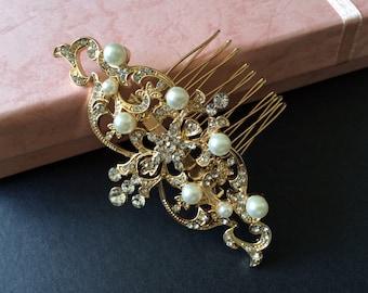Victorian gold wedding hair comb, Bridal hair comb, Barrette clip, Vintage brooch, Silver vintage style hair accessory, wedding headpiece
