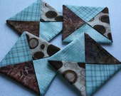 Fabric coasters, set of four coasters, folded coasters, mug rugs, candle mats, home décor, little quilts, kitchen décor