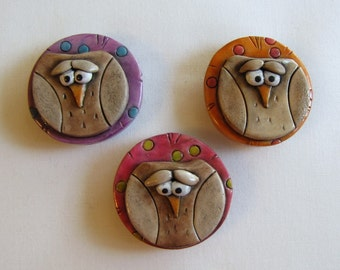 Whimsical Owl Magnet Set of 3, Colorful Owl Magnets, Refrigerator Owl Magnets, Three Cute Whimsical Owl Magnets