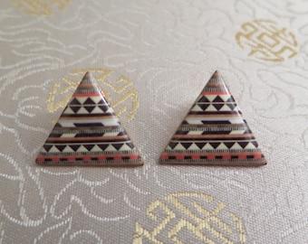 Vintage Earrings - Triangle Earrings - Triangular Earrings - 1980s Earrings - Earrings - Earrings for Pierced Ears - Aztec Earrings
