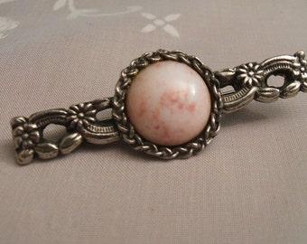 Bar Brooch - Vintage Bar Brooch - Pewter Bar Brooch - Pewter Brooch - Pink Brooch - Flower Brooch - Gift For Her - Vintage Pin - Bar Pin