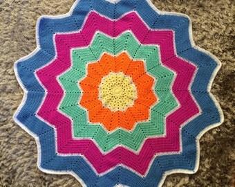 Handmade Crochet Star Blanket - Bright Colors/White - Pram, Stroller, Bassinet