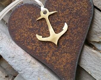 Heart Anchor Custom ornament Recycled mixed metal Love Nautical Decor Coastal Military Love