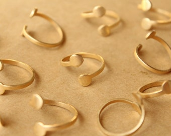 3 pc. Raw Brass Adjustable Rings with Circle-shaped Pads | RB-843