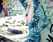 BLUE LEOPARD cowl neck hoodie dress with pink fringe