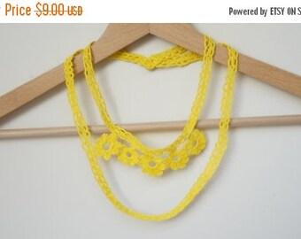 CIJ SALE Crochet Necklace minimalist yellow flower floral handmade textile primitive fairy woodland forest autumn wild summer light sunny