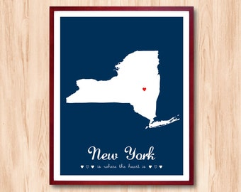 NEW YORK is where the heart is / States Map / Personalized gift Wall Art Kids room Art Children room art Baby nursery room Living Room decor