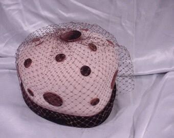 Sweet Vintage Hat by Glenover, Henry Pollak New York  Felt Velvet Polka-Dots
