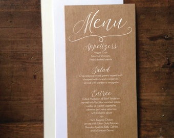 "Wedding Menu Cards 4""x9"" - Rustic Wedding Menu Card - Simple & Elegant Wedding Menu -  White Ink Printed Wedding Menu"
