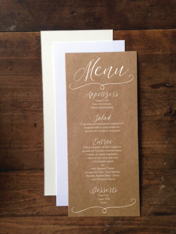 Wedding Menu Cards 4x9 Rustic Wedding Menu Card