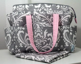 Chloe Custom Diaper Bag w/ Changing Pad, Wipes Clutch- Your Choice of Any Fabric- Made to Order