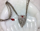 Repurposed Art Deco Dress Clip Necklace Rhinestones Red Accents Rubies Multi Chain Large Pendant Mixed Metal Original OOAK WishAnWearJewelry