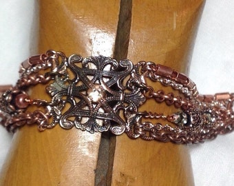 Repurposed Assemblage Vintage Bracelet UpcycLeD Ornate Filigree Copper Brooch Multi-Chain Mixed-Metals Rose Gold Accent Beads WishAnWear