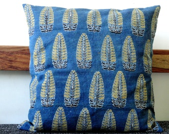 Natural Dye Indigo Pillow cover ,Indigo Decorative pillow, Indigo Decor, Block Print pillow cover,  blue cushion cover