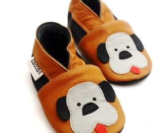 soft sole baby shoes infant handmade moccs doggy brown gray 18 24 m bebes garcon fille cuir souple chaussons chaussures ebooba DG-9-BR-M-4