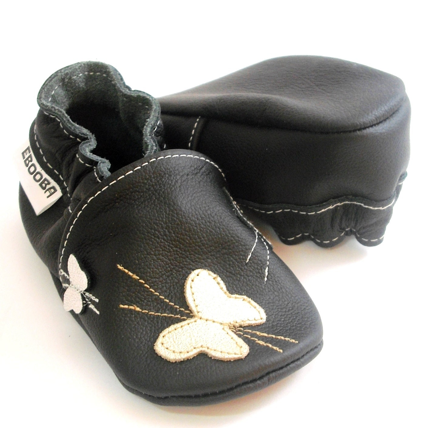 soft sole baby shoes handmade infant silver butterfly black