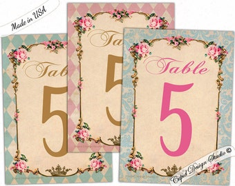 Elegant table numbers/Royal table numbers gold/Unique table numbers wedding/Shabby chic table number cards/Printed table numbers.