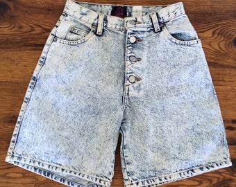 Vintage 80's Sasson Acid Wash Denim Shorts High Waist Button Fly Womens 5/6