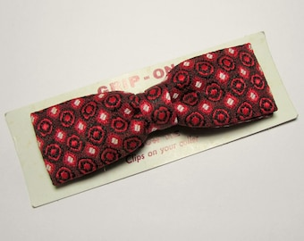 Clip on Bow Tie - Deadstock Vintage 1950s Deep Red Clip on Bow Tie -  New in Package
