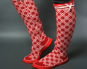 slippers women red white wool leather chaussons chausettes cuir handmade sock footwear folklore scandinavian
