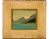 Vintage Original Painting Oil on Canvas Art Signed by Jeanne Laurence Alaskan Artist Sydney Laurence Mount McKinley Denali Lake Cabin Scene