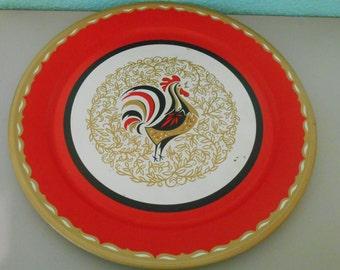 Rooster serving tray, Rooster serving platter, Vintage kitchen serving, Rooster decor, Kitchen decor