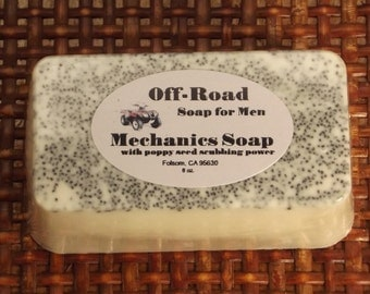 Gift for men, XTRA large Mechanics Soap gift boxed, man sized soap with poppy seed scrubbing power, extra large 8 oz soap, vegan, for men
