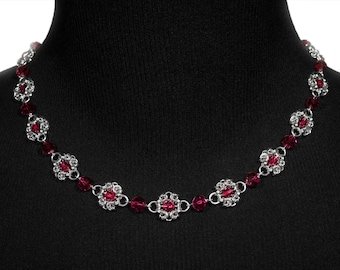 Red Royal Ricardo Necklace | silverplated