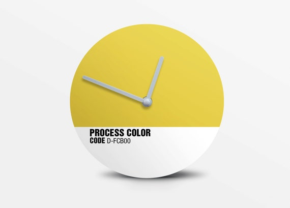 Hey Fishy - Buttercup wall clock ( Pantone Style Designer Clock)