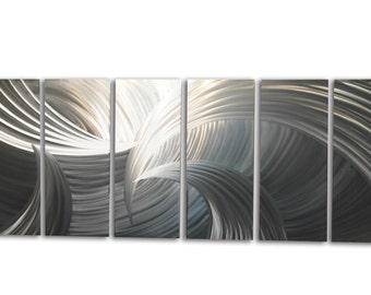 Metal Wall Art Decor Abstract Aluminum Contemporary Modern Sculpture Hanging Zen Textured - Tempest 36x95