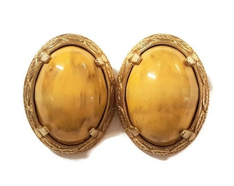 Vintage Castlecliff Gold Tone Yellow Stone Clip Earrings