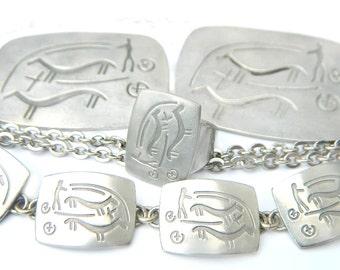 Jorgen Jensen Pewter 163 Set Denmark Designer Vintage Jewelry Necklace Bracelet Brooch And Ring SALE Coupon Sparkle2017 For 15% Discount