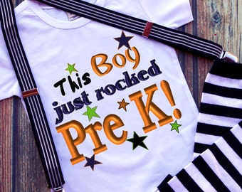 This Boy just rocked PreK Saying Words Applique Embroidery Design Instant download 4 sizes