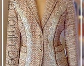 Jacket women size 6-8 tweed boucle cream and brown lace and sequin trim vintage pearl buttons business dressy casual