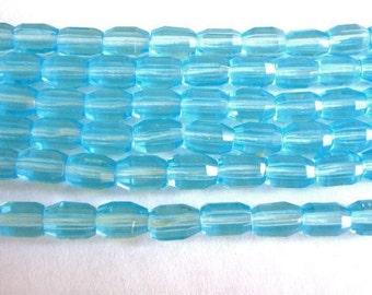 5x8mm Faceted Oval Blue Czech Glass Beads Aqua 25pcs