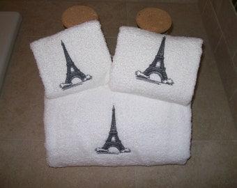 Eiffel Tower - Paris 3 Piece Embroidered Bath Towel Set