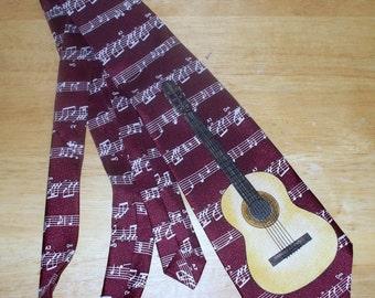 Vintage Daniel Ford Necktie  - Guitar Music - 100% Polyester - Burgundy Background