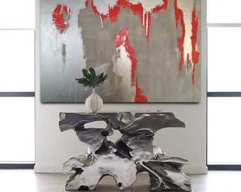 "Abstract Silver Painting, Silver decoration, Chrome Decoration, Silver wall art, Abstract Chrome, canvas art, 36"", Silver  Painting, Spray"