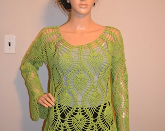 Green Leafs Custom Made Size Crochet Cotton Shirt Sizes 0 to 20.