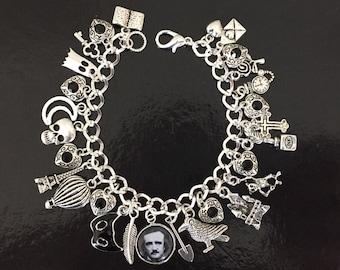 Edgar Allan Poe Charm Bracelet, The Raven, Nevermore, Author, Poet, Writer, Black and Silver