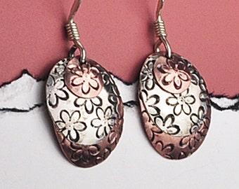 Copper Flower Earrings, Copper and Silver Earrings, Layered Earrings, Copper and Sterling Silver Earrings, Flower Earrings, Mixed Metal