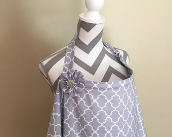 Grey Nursing Cover - grey lattice grey breastfeeding cover hooter hider with a fabric flower clippie -Ready to ship