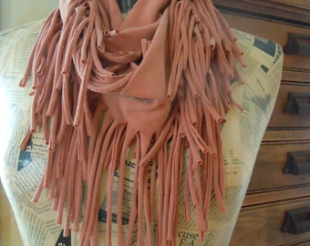 Brown Handmade T-Shirt Scarf, Eternity Scarf, Recycled Shredded Jersey Scarf, Infinity Scarf, #1125