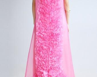 Vintage Emma Domb Pink Ruffle Dress