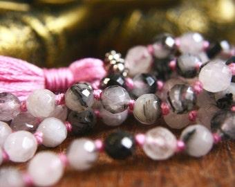 108 Mala Beads Tourmalinated Quartz Sterling Silver Japa Mala Prayer Meditation Jewelry Spiritual Tool Mantra Mala Knotted Gemstone Mala